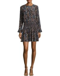 Shoshanna   Printed Silk Blouson Dress   Lyst