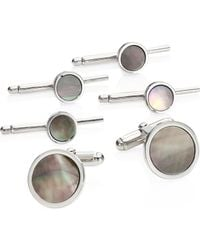 David Donahue - Mother-of-pearl Sterling Silver Cuff Link & Stud Set - Lyst