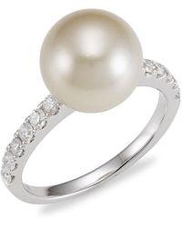 Samira 13 - 18k White Gold, 10.5mm Australian Pearl & Diamond Ring - Lyst