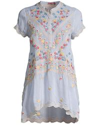 Johnny Was Viola Floral-embroidered Handkerchief Tunic - Blue