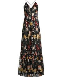 Aidan By Aidan Mattox Embroidered Plunging V-neck Gown - Black