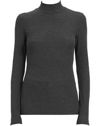 Theory Ribbed Turtleneck Top - Gray