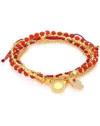 Astley Clarke | Biography Hamsa In Safe Hands White Sapphire, Red Agate & Carnelian Silken Beaded Charm Bracelet | Lyst
