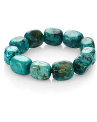 Nest - Teal Agate Square Beaded Stretch Bracelet - Lyst