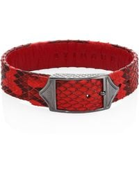 Stinghd Luxe Platinum-plated Pure Silver & Python Leather Buckled Bracelet - Red