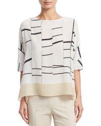 Akris - Broken Stripe Silk Tunic Blouse - Lyst