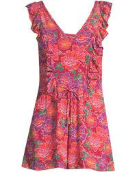 Paloma Blue Liza Floral Ruffled Romper - Red