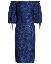 THEIA Metallic Off-the-shoulder Puff-sleeve Dress - Blue