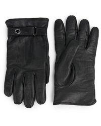 Alexander McQueen Leather Biker Gloves - Black