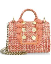 Kooreloo Small Lollipops Embellished Tweed Crossbody Bag - Orange
