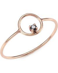 Zoe Chicco - 14k Rose Gold & Black Diamond Circle Ring - Lyst