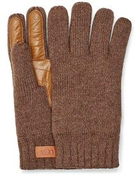 UGG Palm Patch Leather & Knit Gloves - Multicolor