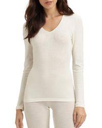 Hanro Woolen Silk Long Sleeve Shirt - White