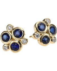 Temple St. Clair - Classic Color Sapphire, Diamond & 18k Yellow Gold Trio Earrings - Lyst