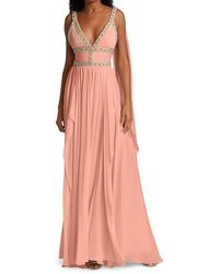 Elie Saab Embellished Silk Chiffon Cape Gown - Multicolor