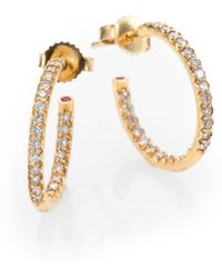 Roberto Coin - Diamond & 18k Yellow Gold Hoop Earrings/0.7 - Lyst