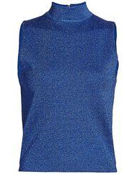 Alice + Olivia Lanie Metallic Knit Sleeveless Top - Blue