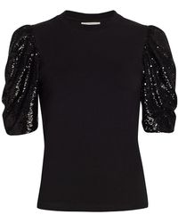 Cinq À Sept Kendra Sequin Puff-sleeve T-shirt - Black
