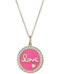 Sydney Evan Diamond, Pink Enamel & 14k Yellow Gold Love Medallion Pendant Necklace