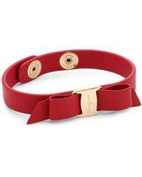 Ferragamo Vara Bow Red Leather Bracelet