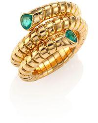 Marina B Trisola Emerald & 18k Yellow Gold Coil Ring - Metallic