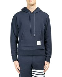 Thom Browne Cotton Pullover Hoodie - Blue