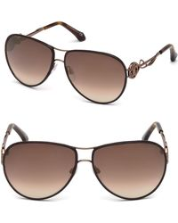 Roberto Cavalli - Intertwining Gradient Aviator Sunglasses Brown - Lyst