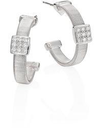Marco Bicego - Masai Diamond & 18k White Gold Small Hoop Earrings/0.6 - Lyst