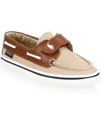 Ralph Lauren - Kid's Batten Leather-trim Boat Shoes - Lyst