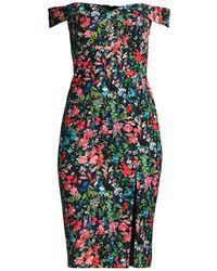 Aidan By Aidan Mattox Floral Off-the-shoulder Crepe Sheath Dress - Black