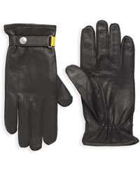 Paul Smith Strap Cuff Leather Gloves - Black