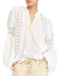 Polo Ralph Lauren - Crinkled Silk Blouse - Lyst