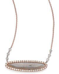 Meira T - Labradorite, Diamond & 14k Rose Gold Oval Pendant Necklace - Lyst