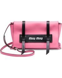 b47f107ed462 Miu Miu - Women s Grace Luxe Leather Clutch - Pink - Lyst