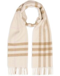 Burberry Giant Icon Scarf In White Cashmere
