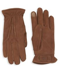 UGG 3 Point Leather Suede Gloves - Brown