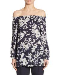 Lafayette 148 New York - Raelyn Floral-print Off-the-shoulder Blouse - Lyst