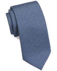 Brioni Silk Zig Zag Tie - Blue