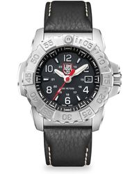 Luminox - Navy Seal Steel Diver Stainless Steel And Leather Strap Watch - Lyst