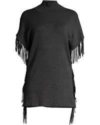 Elie Tahari Cyrus Merino Wool Fringe Sweater - Black