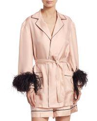 Prada Feather-accented Silk Satin Robe - Pink