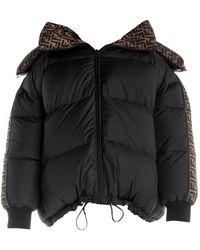 Fendi Reversible Ff Logo Print Puffer Jacket - Black