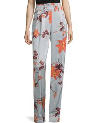 Etro - Floral Satin Trousers - Lyst