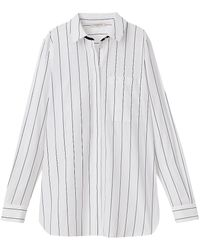 Lafayette 148 New York Ruxton Pinstripe Shirt - Blue