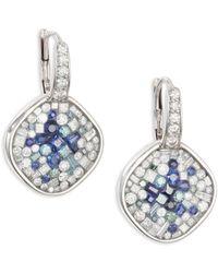 Plevé - Diamond, Blue Sapphire & 18k White Gold Cushion Drop Earrings - Lyst