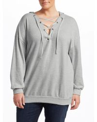 Slink Jeans Lace-up Cotton Hoodie - Gray