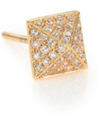 EF Collection - Pyramid Diamond & 14k Yellow Gold Single Stud Earring - Lyst