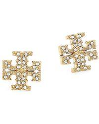 Tory Burch - Goldtone Pavé Logo Stud Earrings - Lyst