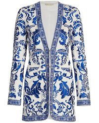 Alice + Olivia Chriselle Embroidered Longline Blazer - Blue