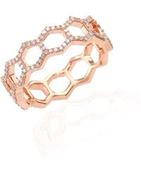 Astley Clarke - Honeycomb Diamond & 14k Rose Gold Ring - Lyst